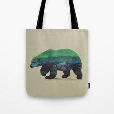 Polar Bear in Northern Lights Tote Bag