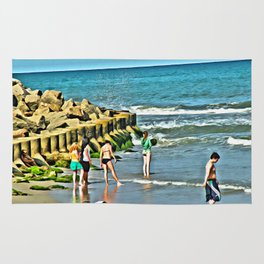 Day At the Beach - Photo rendered as painting Rug