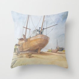 Boats on Dungeness Beach Kent England Throw Pillow