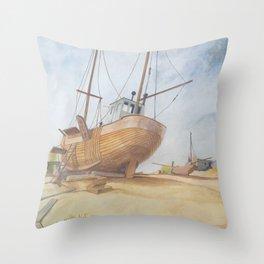 Boats on Dungeness Beach Kent England Throw Pillow