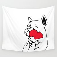 frenchie Wall Tapestries featuring Frenchie Heart by Huebucket