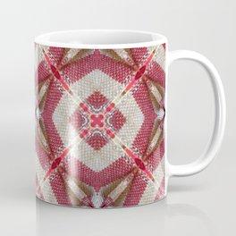 Holiday Red, Cream and Gold Burlap Plaid Pattern Coffee Mug