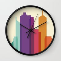 vector Wall Clocks featuring City Vector by Whitney Werner