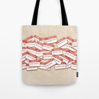 psych Tote Bags featuring PSYCH.. GUS FUNNY NAMES.. by studiomarshallarts