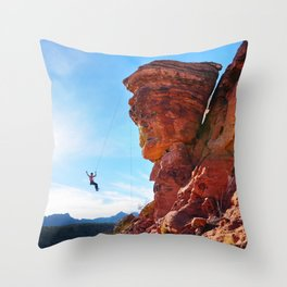 Rock Climber Swinging at Red Rock Canyon Throw Pillow