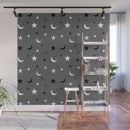 Grey background with black and white moon and star pattern Wall Mural