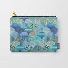 Blue Turquoise Glamour Fish Skin Scale Pattern Carry-All Pouch