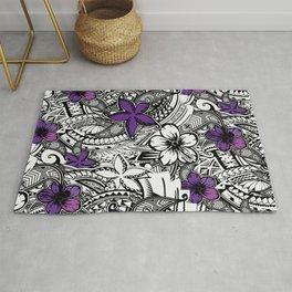 Hawaiian - Samoan - Polynesian Tribal Floral Print Rug