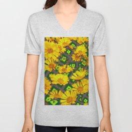 Rich Golden Yellow  Coreopsis Flowers Green Modern Art Unisex V-Neck