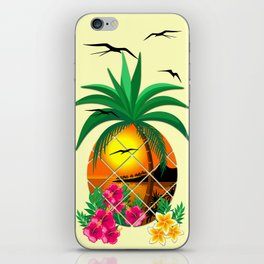 Pineapple Tropical Sunset, Palm Tree and Flowers iPhone Skin