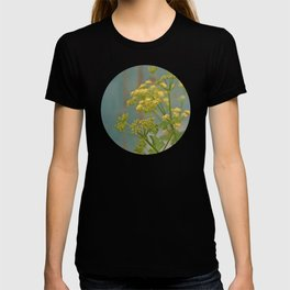 Yellow wildflowers on blue rusty metal T-shirt
