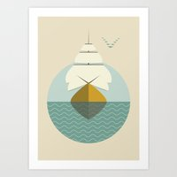 sailboat Art Prints featuring Sailboat by FLATOWL