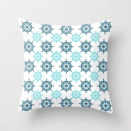 Nautical Seafarer Wheel Retro Seamless Pattern Throw Pillow