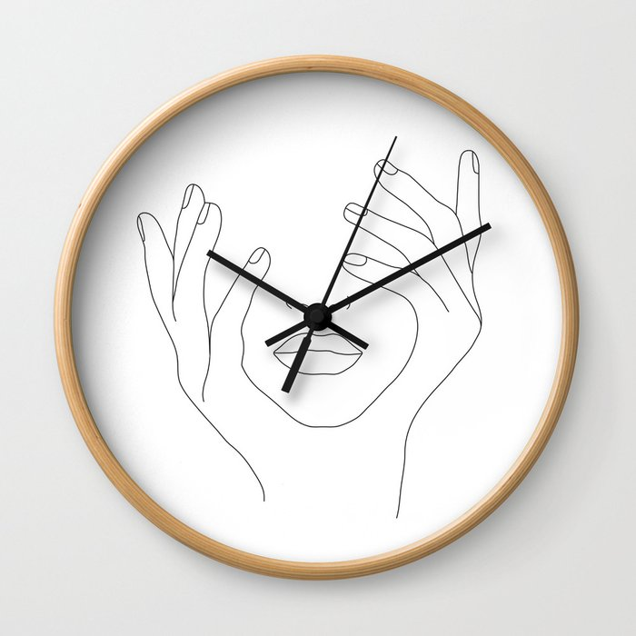 Minimal Line Art Woman with Hands on Face Wall Clock