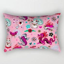 Lucky Cat Maneki Neko , Dragons and Koi fish On Pink Rectangular Pillow