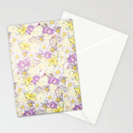 Vintage pattern- Spring in purple and yellow- daffodils and anemones Stationery Cards