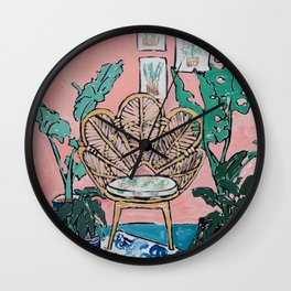 Wicker Shell Chair in Tropical Interior Wall Clock
