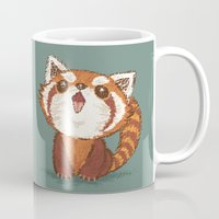 red panda Mugs featuring Red panda by Toru Sanogawa