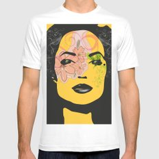 mysterious woman 1 MEDIUM Mens Fitted Tee White