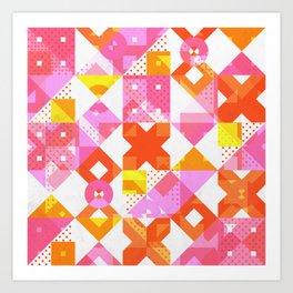 X Square Bubblegum Geometric Pattern Art Print