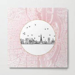 Paris, France, France, Europe City Skyline Illustration Drawing Metal Print