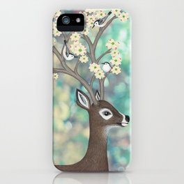 white tailed deer, white breasted nuthatches, & dogwood blossoms iPhone Case