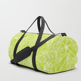 Modern white hand drawn floral lace illustration on lime green punch Duffle Bag