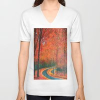 eugenia loli V-neck T-shirts featuring Beautiful colors of Autumn by maggs326