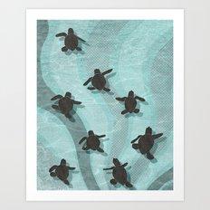 Loggerhead sea turtle hatchlings Art Print