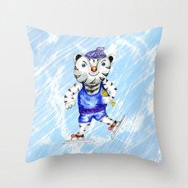 Sporty White Tiger Skating Throw Pillow