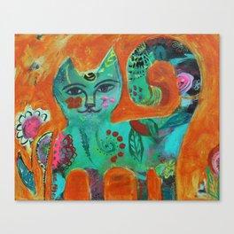 Garden Kitty Canvas Print