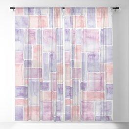 Watercolour Mosaic Pattern   Peach and Purple Sheer Curtain