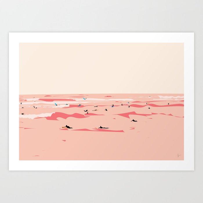 Sunset Tiny Surfers in Lima Illustrated Kunstdrucke