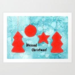 Watercolor Art | Blessed Christmas Greetings Art Print