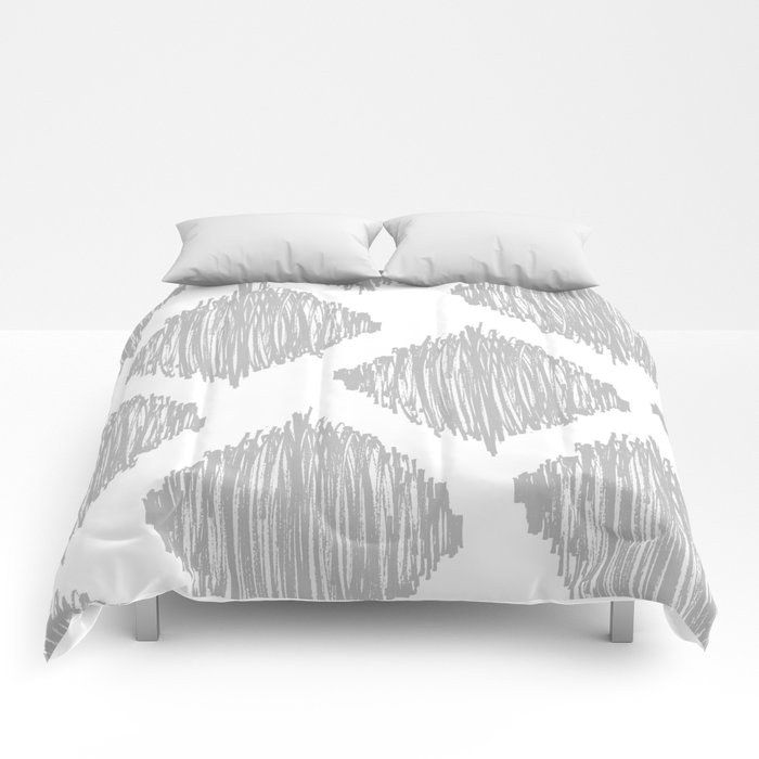 Gray Scribble Diamonds Comforters
