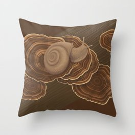 Forestsnail on Fungus Throw Pillow