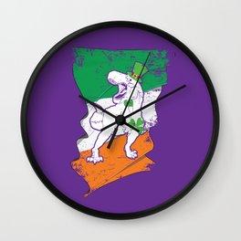 Distressed Irish Flag St Patricks Dinosaur Purple Wall Clock