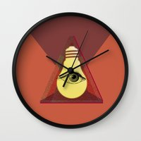 """illuminati Wall Clocks featuring """"Illuminati"""" bulb by Oh! My darlink"""