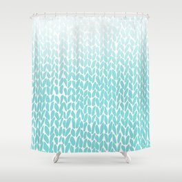 Hand Knitted Ombre Teal Shower Curtain