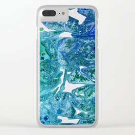 Sea Leaves, Environmental Love of the Ocean Blue Clear iPhone Case