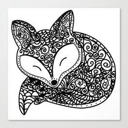Black and White Mandala Fox Design Illustration Canvas Print
