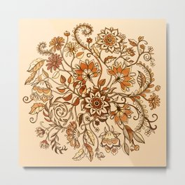 Jacobean Inspired Floral Doodle in Neutral Woodland Colors Metal Print