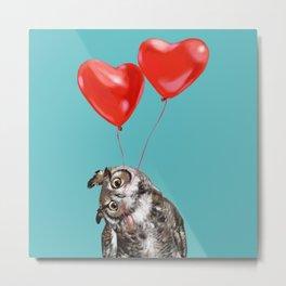 Owl with Love Metal Print