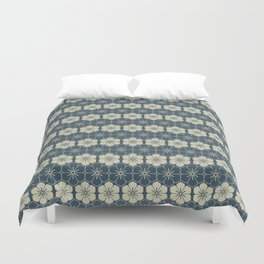 Blue Floral Japanese Pattern Duvet Cover