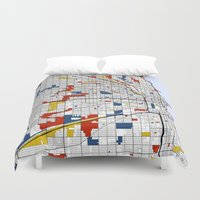 chicago bulls Duvet Covers featuring Chicago by Mondrian Maps