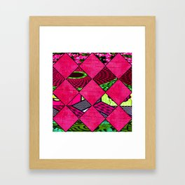 Pink and Green African Print Framed Art Print