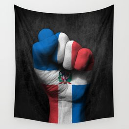 Dominican Flag on a Raised Clenched Fist Wall Tapestry