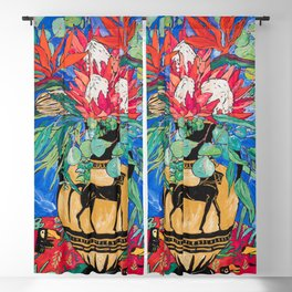 Tropical Protea Bouquet with Toucans in Greek Horse Urn on Ultramarine Blue Blackout Curtain
