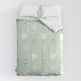Hearts & Flowers Pastel Greens - Continuous Pattern Comforters