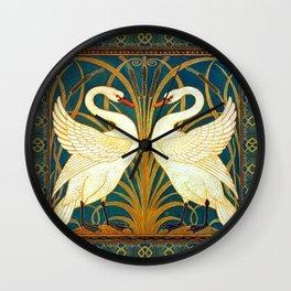 Walter Crane Swan Rush And Iris Wall Clock